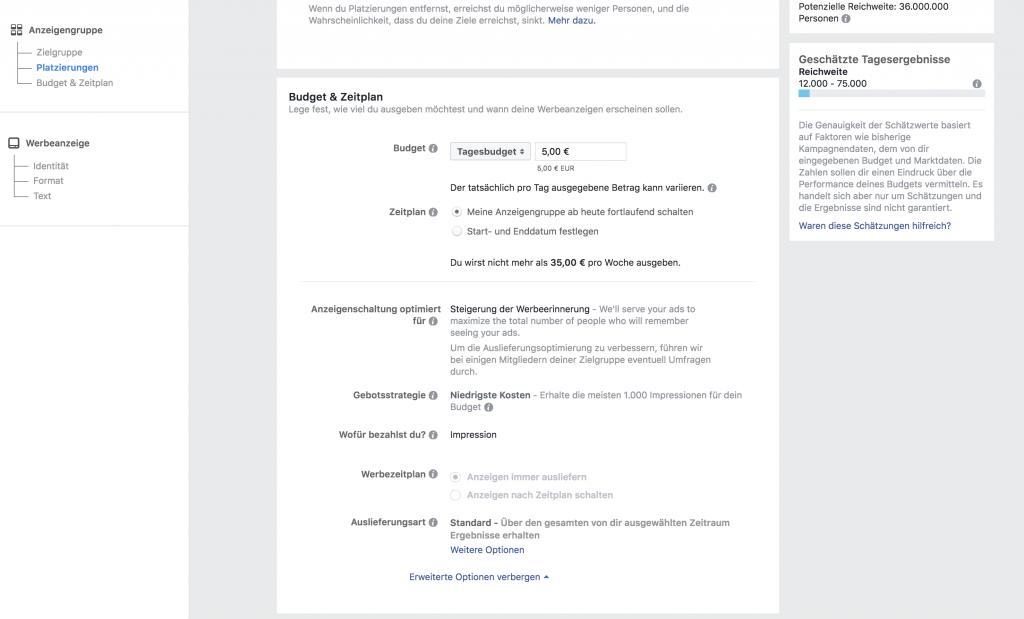 Das kleine Einmaleins der Facebook Ads: Budget festlegen