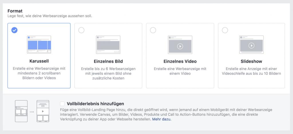 Das kleine Einmaleins der Facebook Ads: Format wählen