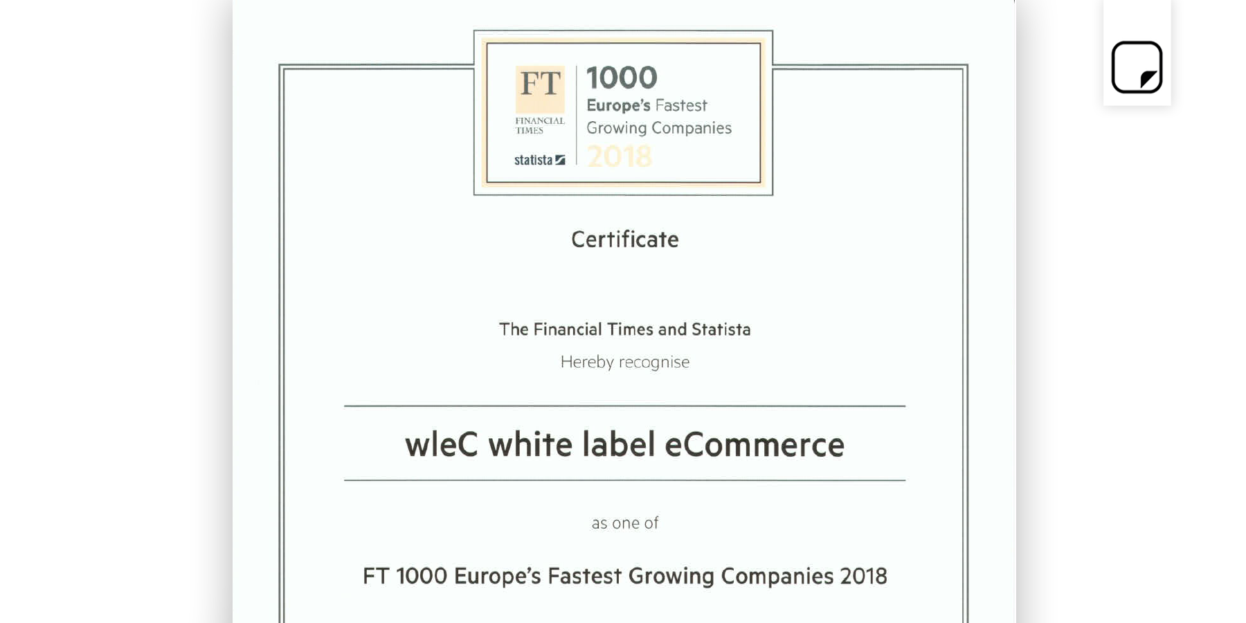 """FT1000 Fastest Growing Companies Europe 2018"""