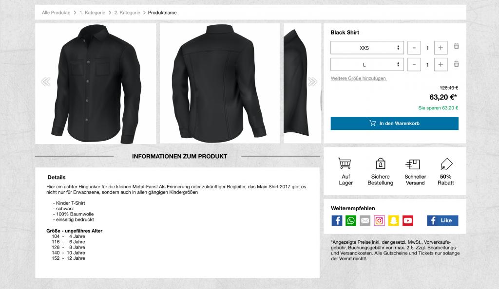 Ein Beispiel der neuen Produktseite - white label eCommerce
