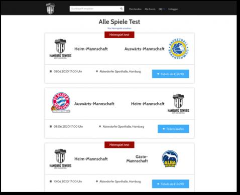 Sport Suite - Nur freigeschaltete Events sichtbar