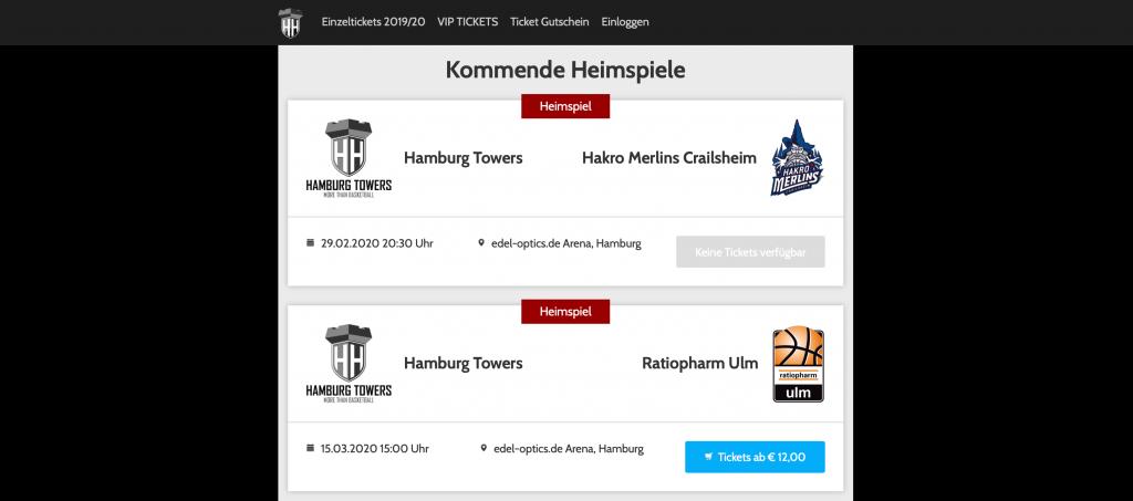 wleC Match View für die Hamburg Towers