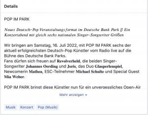 Facebook Veranstaltung: Details